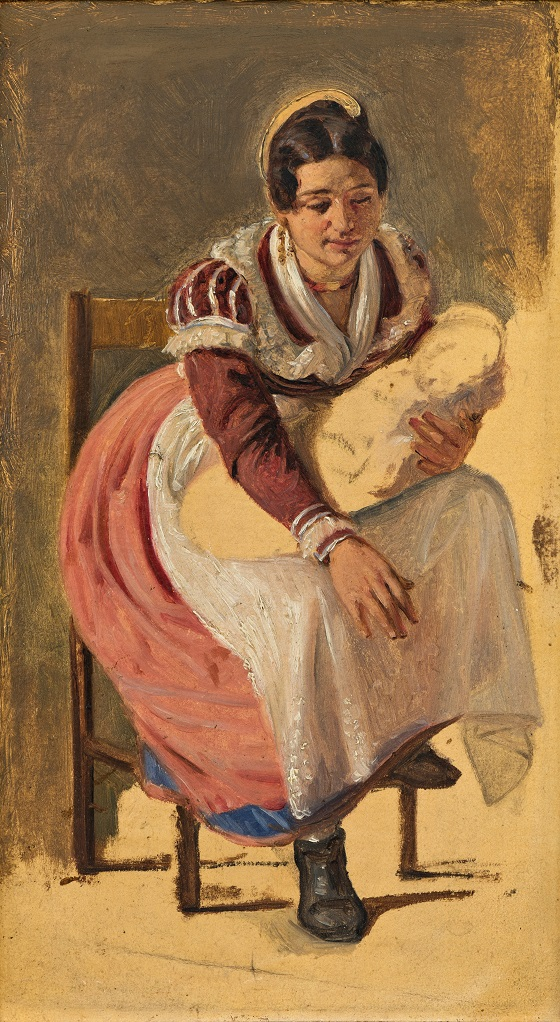 Wilhelm Marstrand, Romerinde med et barn. Studie til Skt. Antonius-festen, ca. 1838