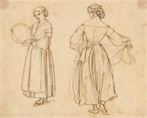 Wilhelm Marstrand, Tegnet forstudie til Dansende romerinde, 1838
