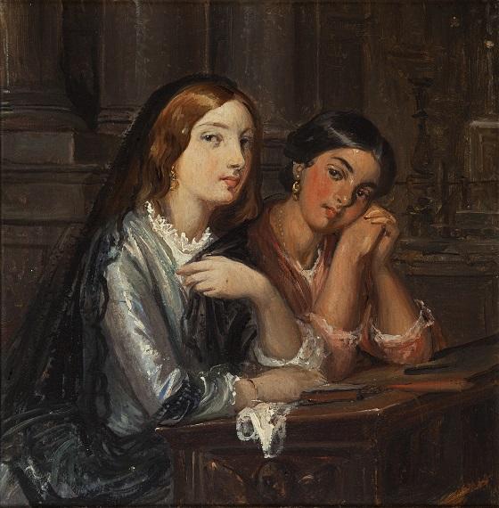 Wilhelm Marstrand, Venetianske piger i en kirke, ca. 1853