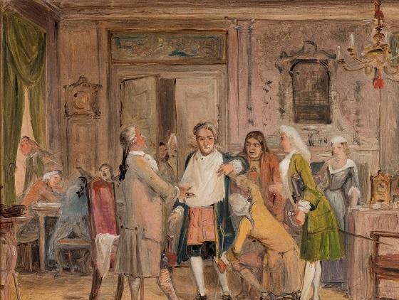 Wilhelm Marstrand, Vielgeschreys genvordigheder. Scene fra L. Holbergs Den stundesløse, 1. akt, 6. scene (Skitse), før 1850