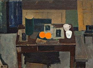 Kalender2_Immanuel Ibsen, Opstilling, bord med appelsiner, 1934. Deponeret på Nivaagaards Malerisamling af Louisiana Museum of Modern Art