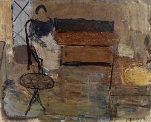 Kalender4_Immanuel Ibsen, Interiør med figur, 1938. Louisiana Museum of Modern Art