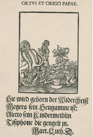 Kalender_Satiretegning fra Lucas Cranachs værksted med tekst af Martin Luther