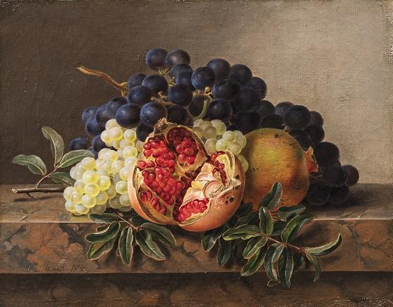J.L. Jensen, Granatæble, grønne og blå druer på stenkarm , 1833