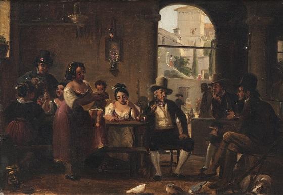 Wilhelm Marstrand, Fra et romersk osteria, piberygende jægere serveres for af italierinder (...)
