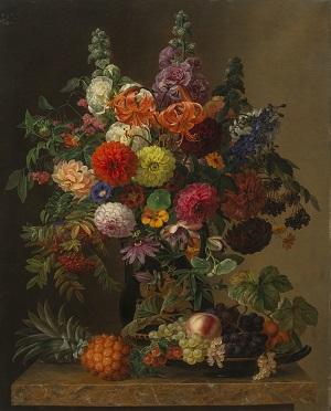 J.L. Jensen, Opstilling med blomster og frugt, 1836. Landesmuseum für Kunst und Kulturgeschichte Oldenburg