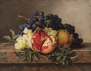 Kalender_Jensen, J.L. - Granatæble, grønne og blå druer på stenkarm, 1833 0219NMK