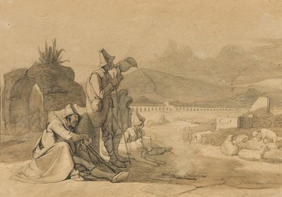 Jørgen Sonne, Tegnet forstudie til Hyrder i den romerske Campagna, ca. 1835