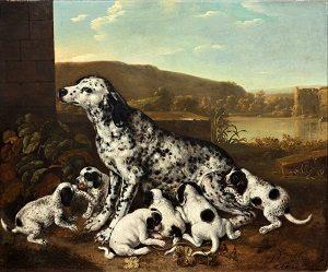 Kalender_4.11. Gå på opdagelse i Malerisamlingens dyremotiver til familieomvisningen. Pieter van der Hulst, Dalmatinerhund med hvalpe, efter 1700. Nivaagaards Malerisamling