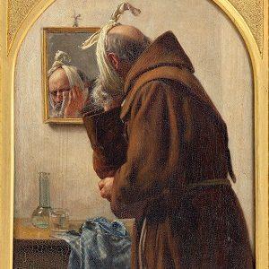Kalender_Carl Bloch, En munk, der spejler sig, 1875. Nivaagaards Malerisamling