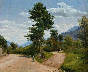 Kalender_P.C. Skovgaard, Landevej i Sabinerbjergene, 1854. Nivaagaards Malerisamling