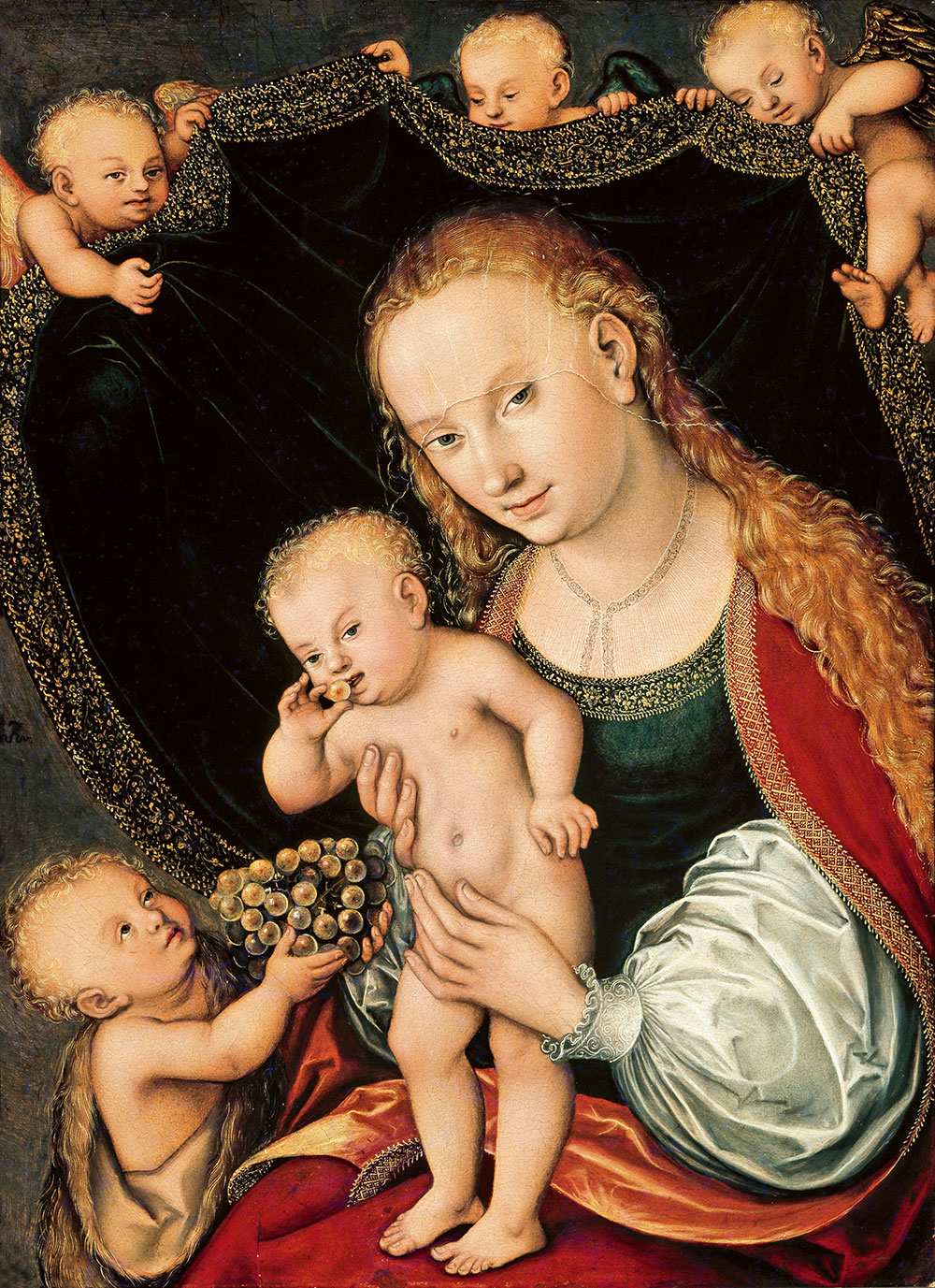 Cranach-d.Æ.,-Lucas----Madonna-og-Kristusbarnet-med-den-lille-Johannes-Døberen-og-engle,-efter-1537-0016NMK