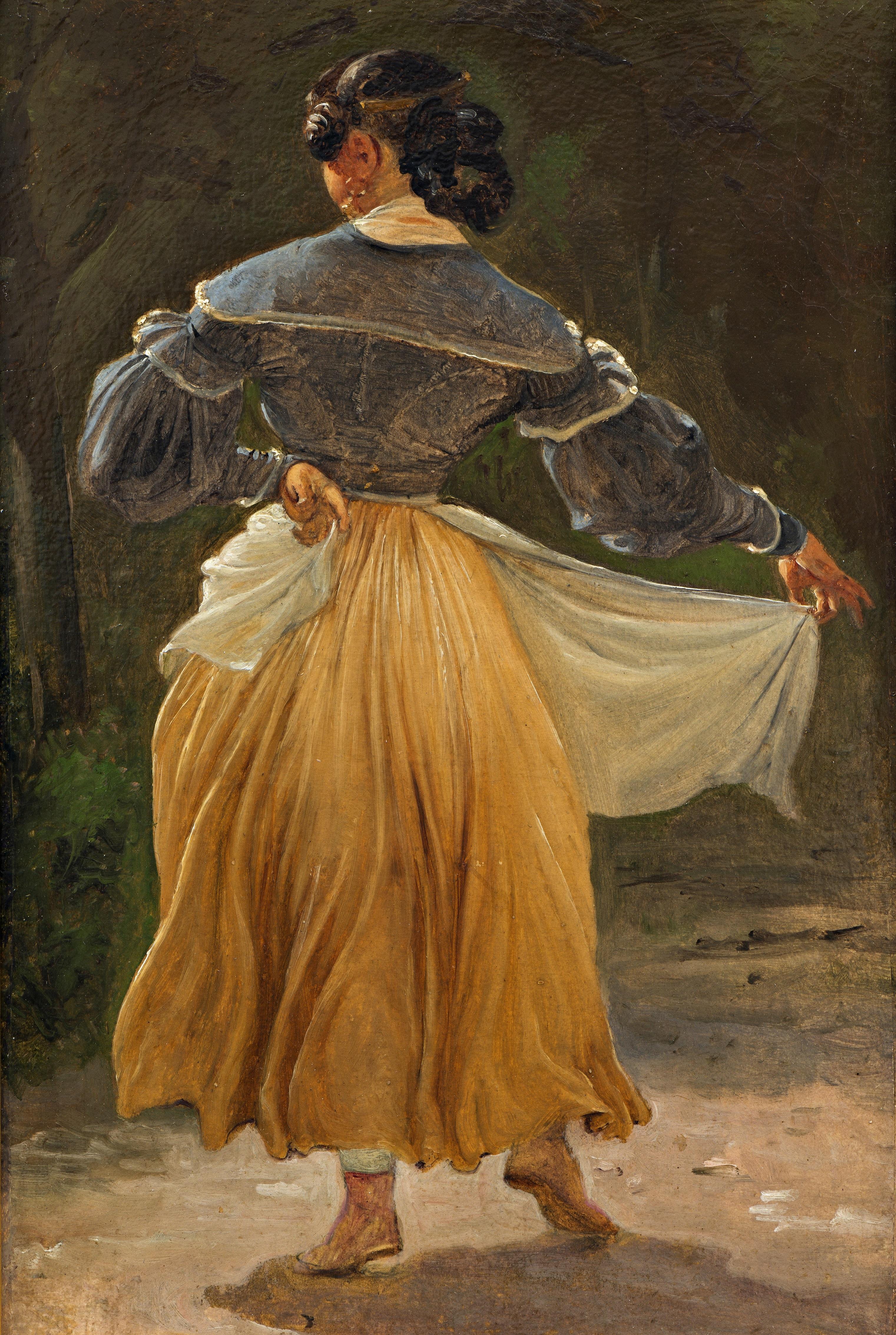 Maleri af Wilhelm Marstrand, Dansende romerinde. Studie til Romerske borgere forsamlet til lystighed i et osteri, før 1838. Nivaagaards Malerisamling