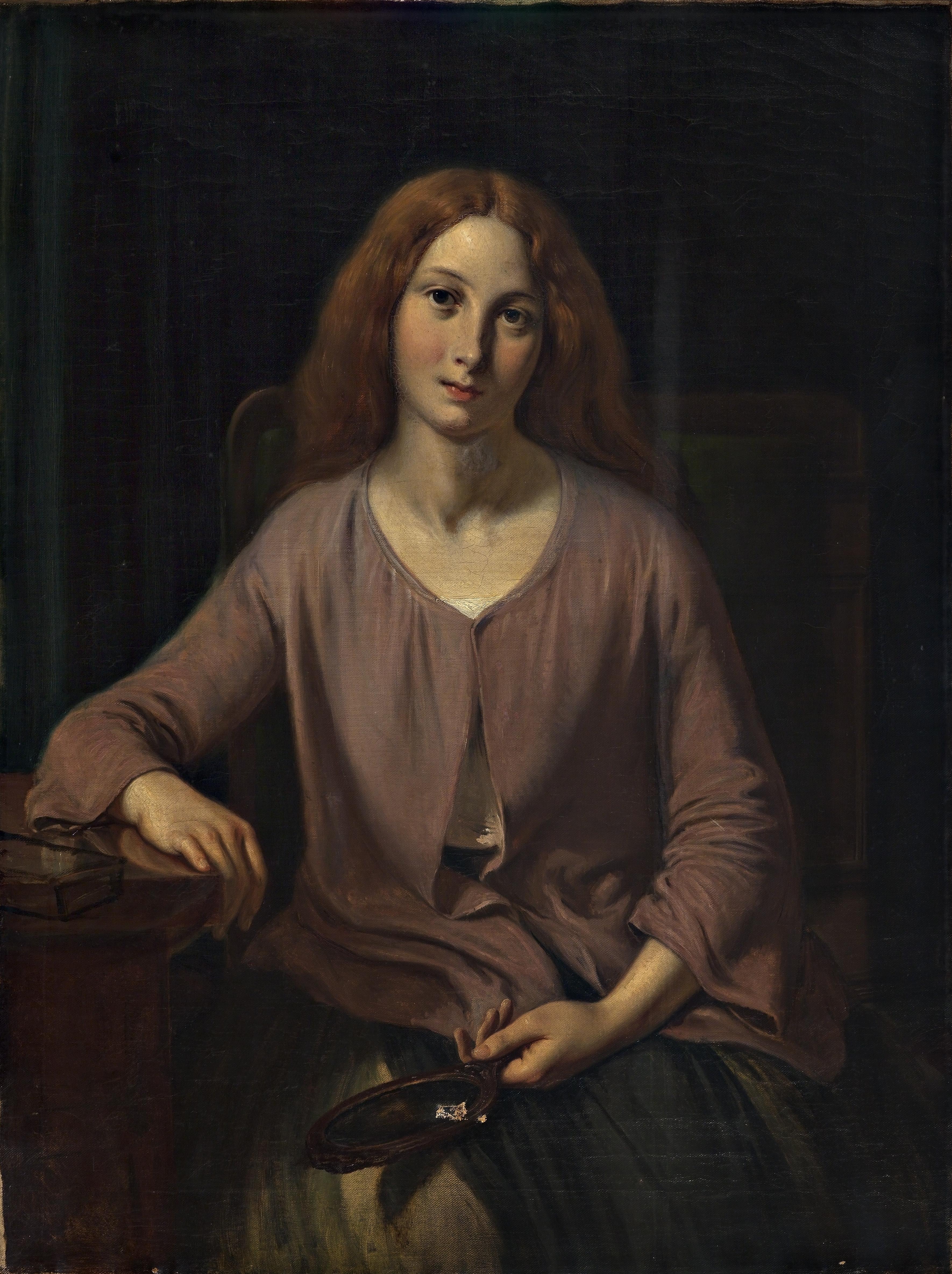 Maleri af Wilhelm Marstrand , Venetianerinde ved toilettet, 1854. Nivaagaards Malerisamling