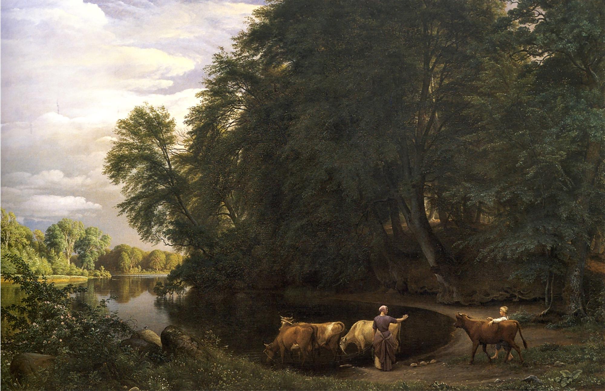 Maleri af P.C. Skovgaard, Sommereftermiddag ved indsø, 1859. Nivaagaards Malerisamling