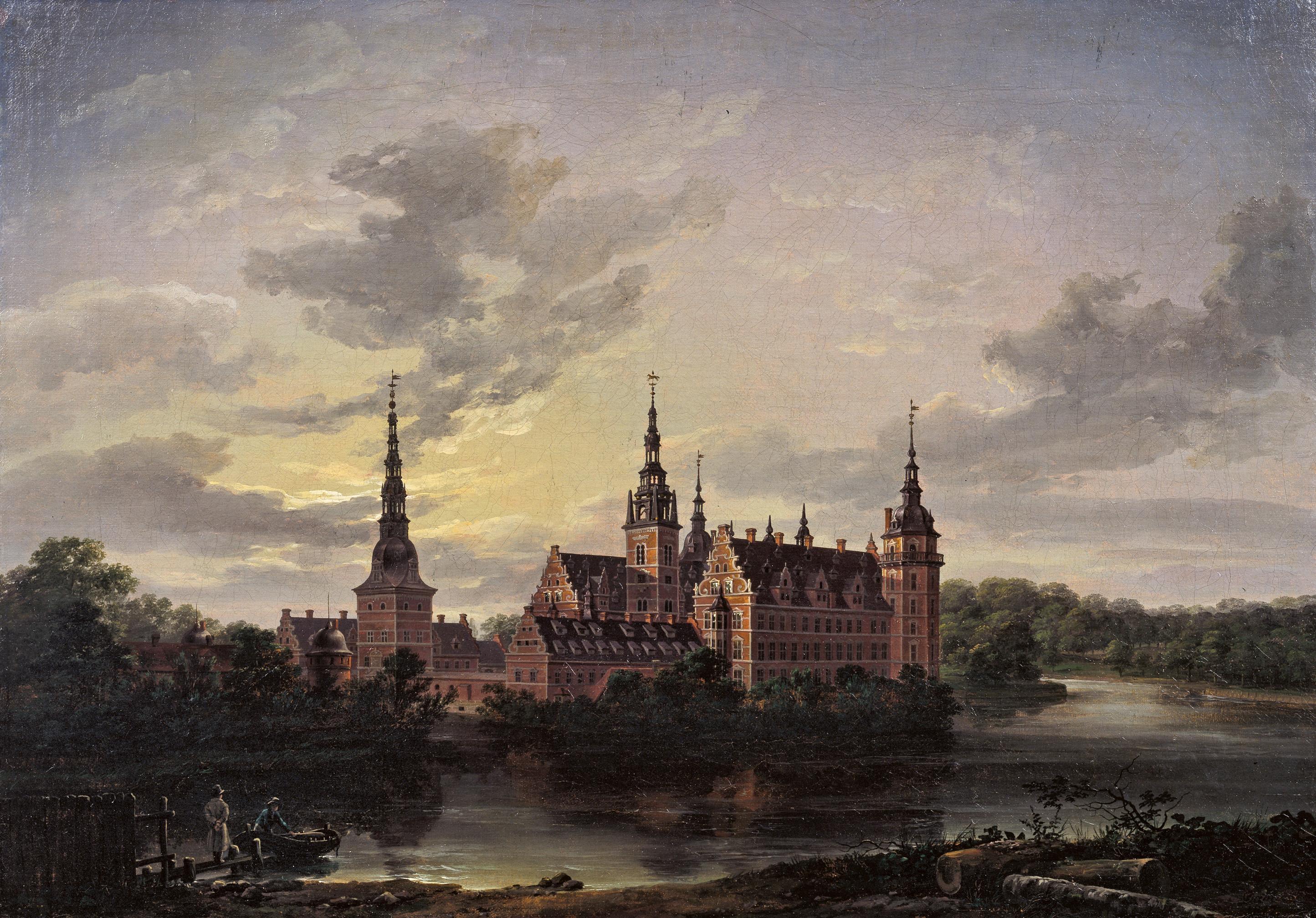 Maleri af J.C. Dahl, Frederiksborg Slot i måneskin, 1817. Nivaagaards Malerisamling.