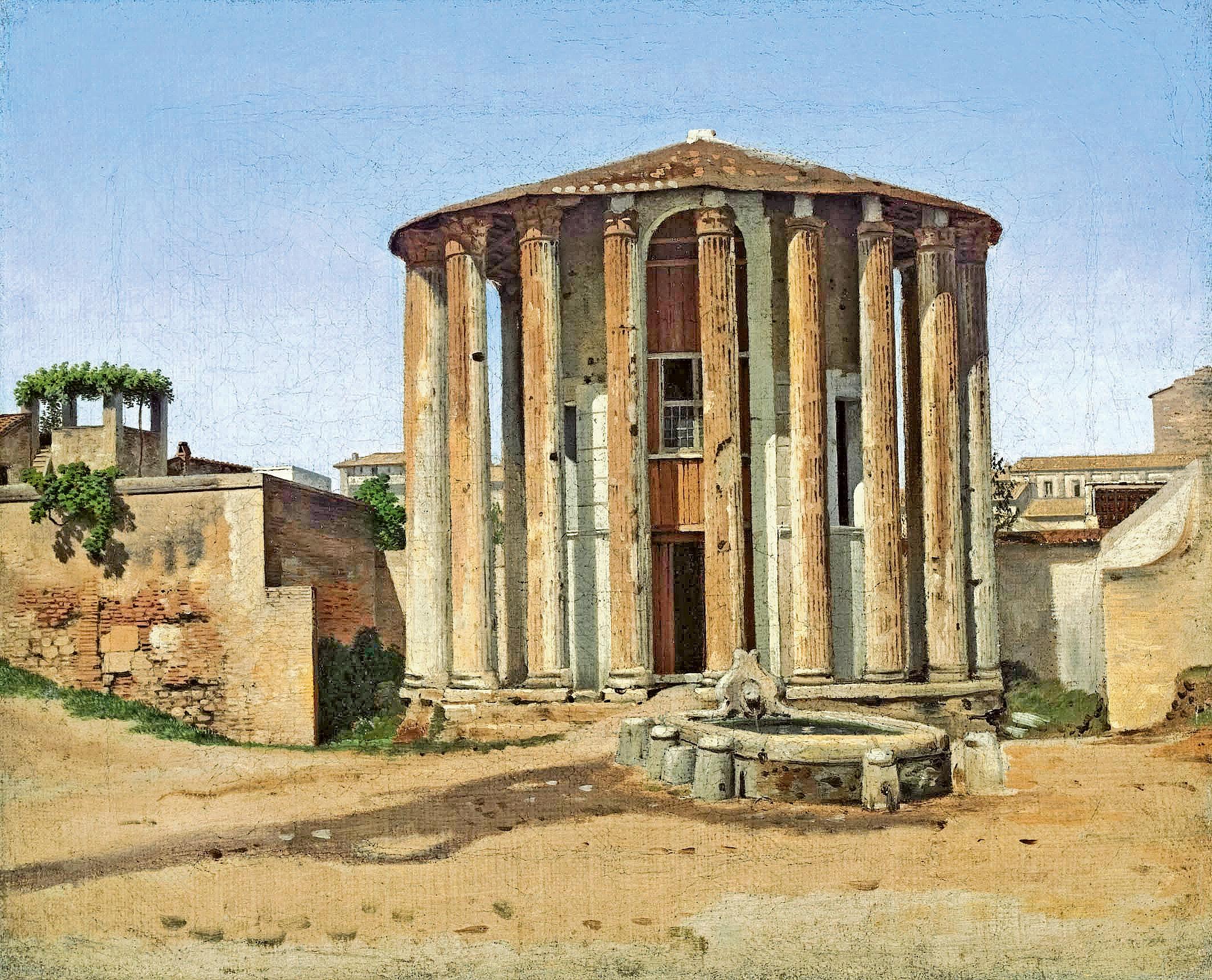 Maleri af C. W. Eckersberg, Vesta-templet i Rom, 1814-181. Nivaagaards Malerisamling.