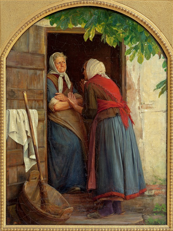 Maleri af Carl Bloch, To koner, der taler sammen, 1874. Nivaagaards Malerisamling