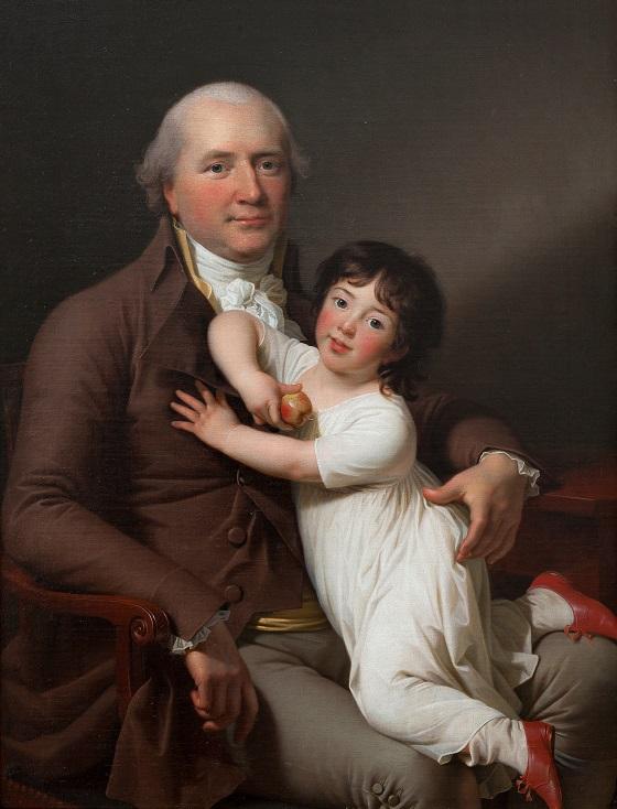 Maleri af Jens Juel, Portræt af Peter Tutein med sin yngste søn Louis Alexander, ca. 1800. Nivaagaards Malerisamling.