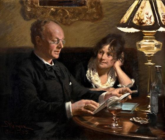 Maleri af P. S. Krøyer, Dobbeltportræt af kgl. skuespiller Emil Poulsen (1842-1911) og hustru Anna, f. Næser (1849-1934), 1885. Nivaagaards Malerisamling.