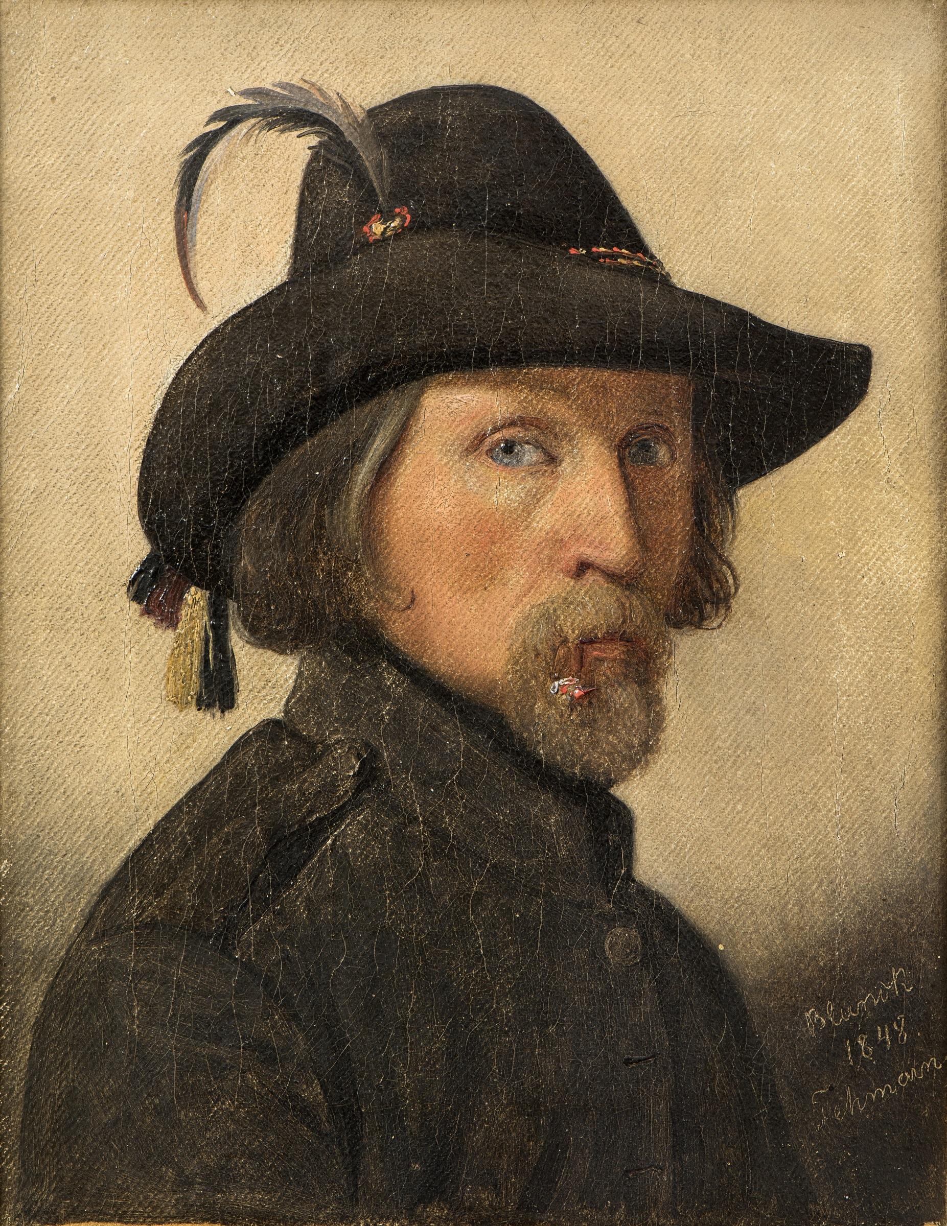 Maleri af Ditlev Blunck, 'Selvportræt som friskarer', 1848. Nivaagaards Malerisamling