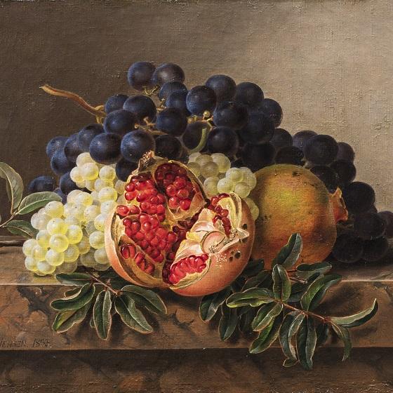 Maleri af J.L. Jensen, 'Granatæble, grønne og blå druer på stenkarm', 1833. Nivaagaards Malerisamling