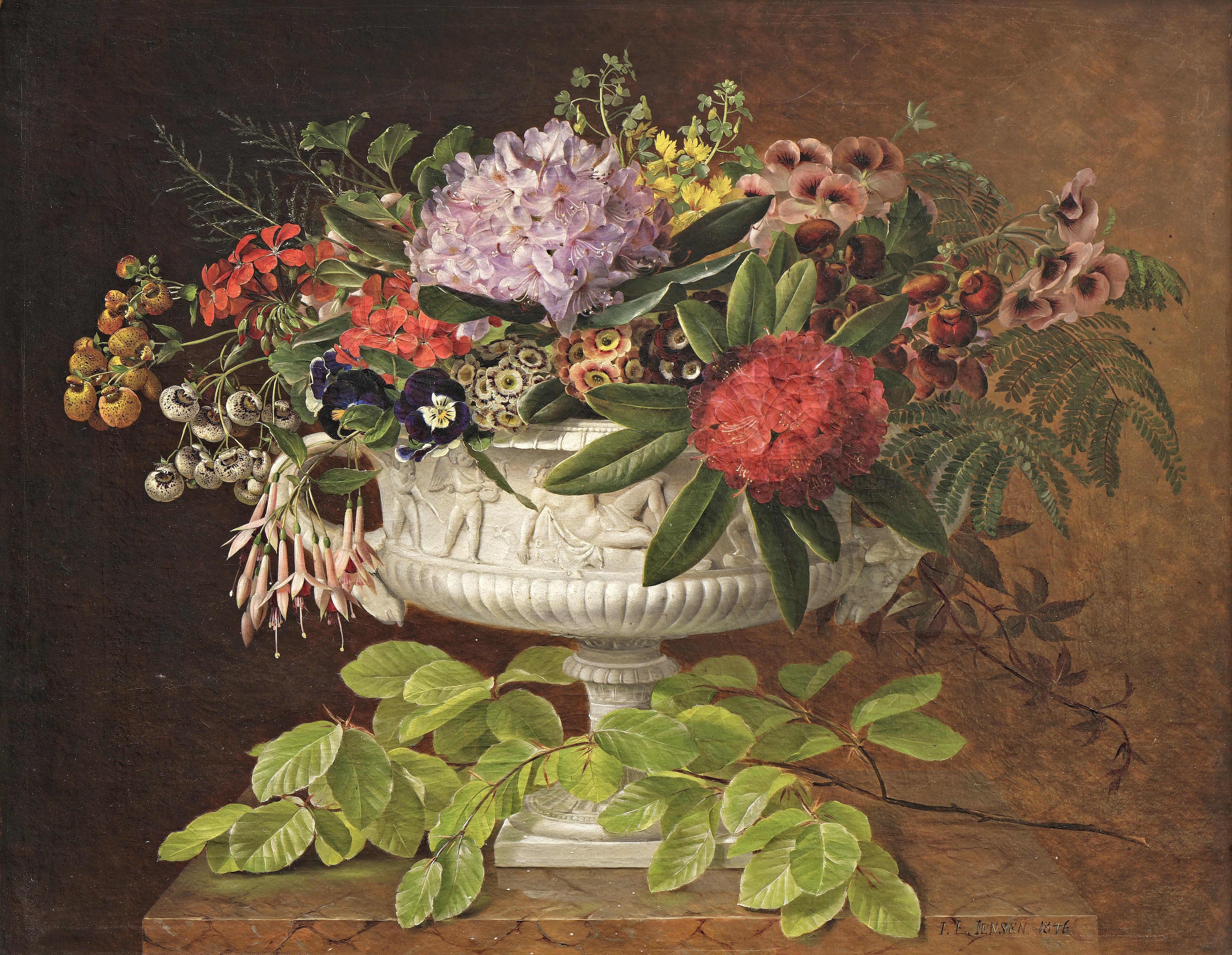 Maleri af J.L. Jensen, Blomster i en opsats på marmorkarm med bøgegren, 1846. Nivaagaards Malerisamling