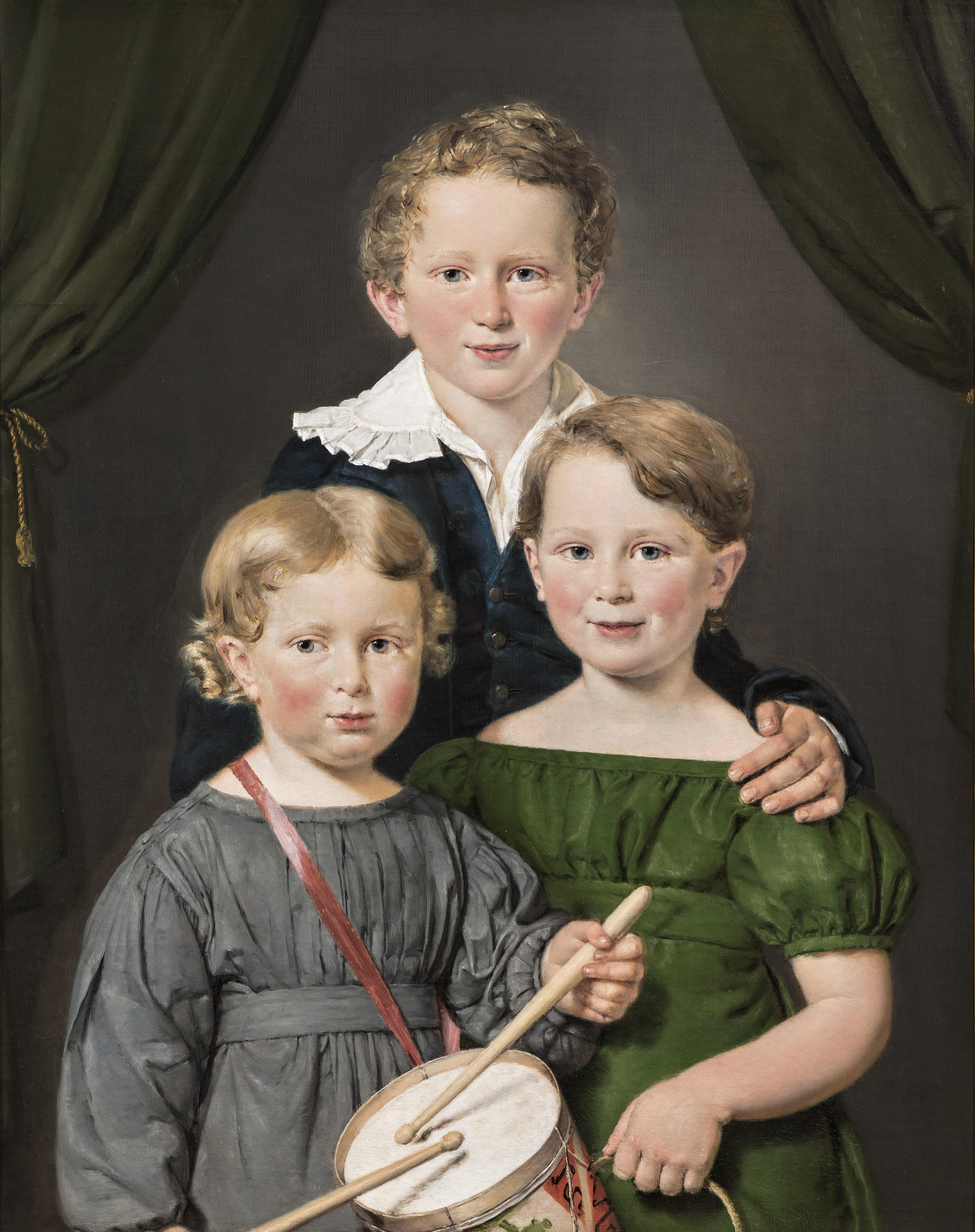 Maleri af Christian Albrecht Jensen, Hans og Bolette Puggaards tre børn, 1827. Nivaagaards Malerisamling