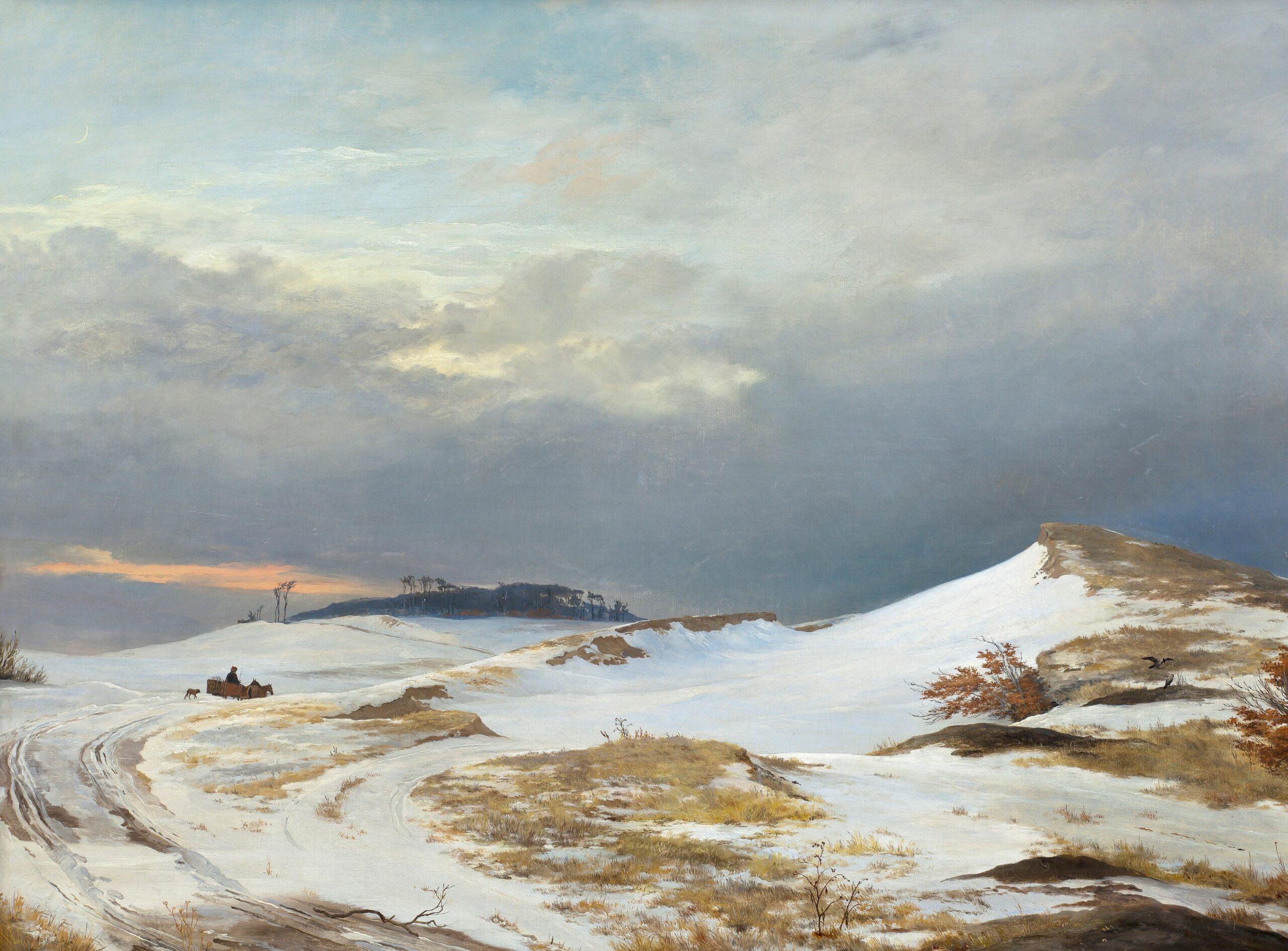 Maleri af J. Th. Lundbye, 'Vinterlandskab i nordsjællandsk karakter', 1841. Nivaagaards Malerisamling