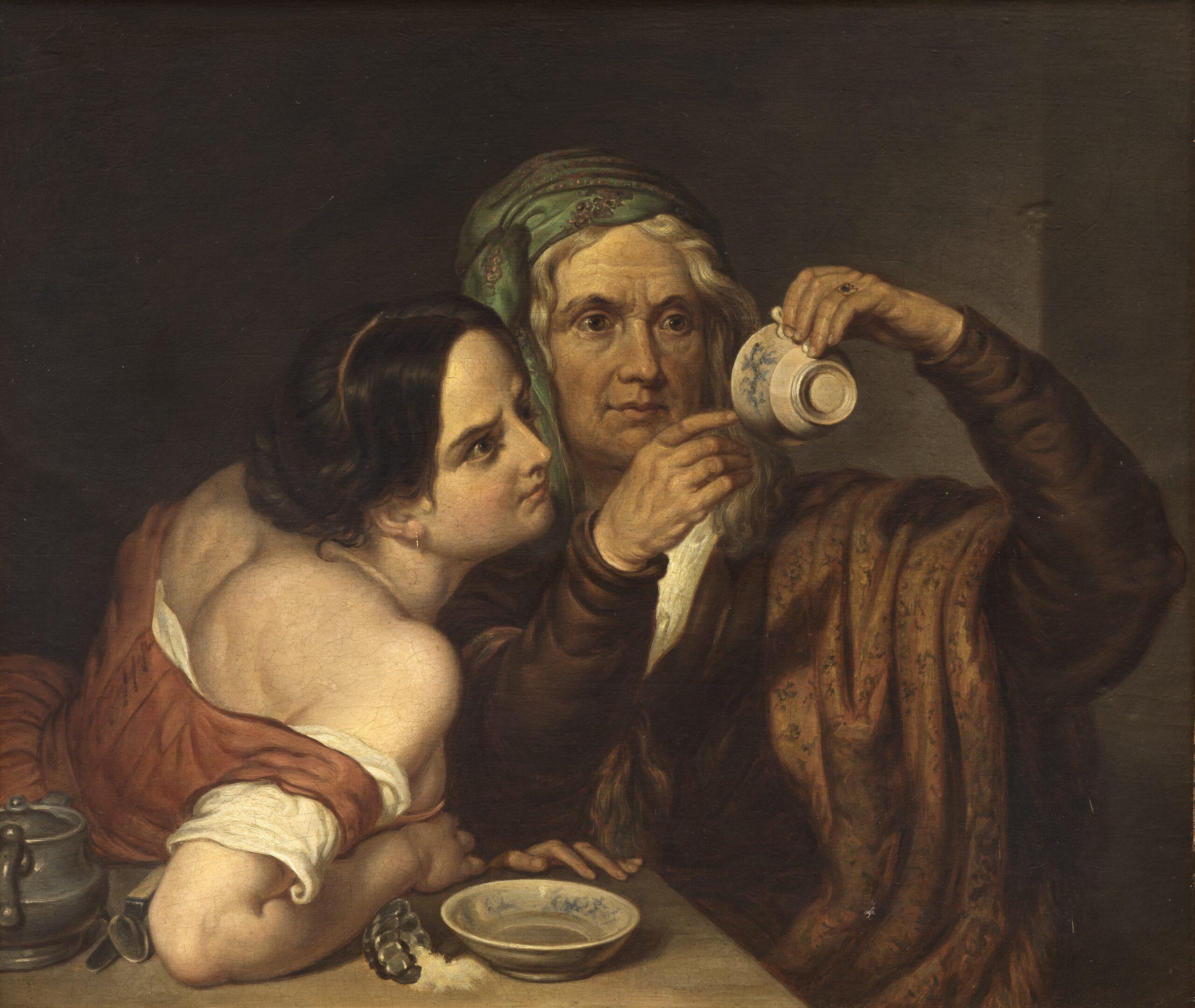 Maleri af ubekendt italiensk kunstner, 'To kvinder med kop', u.å. Nivaagaards Malerisamling