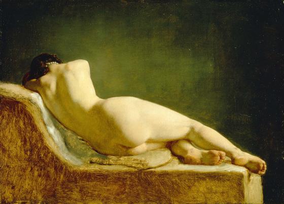 Maleri af Wilhelm Marstrand, 'Liggende-model', 1833. Nivaagaards Malerisamling