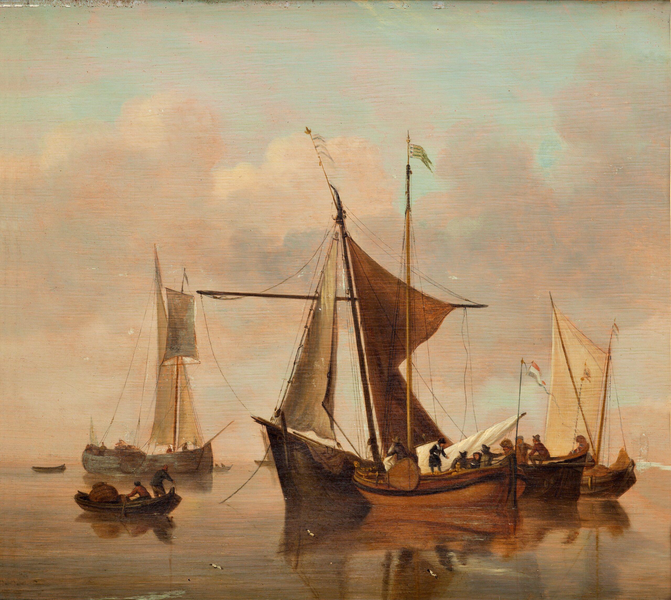 Maleri af Willem van de Velde d.Y, Stille sø, u.å. Nivaagaards Malerisamling