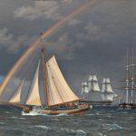 C. W. Eckersberg, Regnbue på søen, en krydsende jagt med nogle andre skibe, 1836