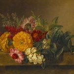 J.L. Jensen, Nature morte med blomster på en marmorbordplade, 1833. Thorvaldsens Museum